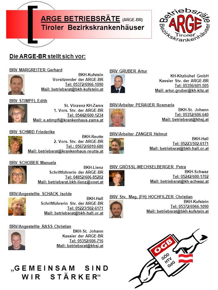 BRV GRUBER Artur KH-Kitzbühel GmbH Kassier Stv. der ARGE-BR Tel: 05356/601-505 Mail: artur.gruber@kh-kitz.at BRV/Arbeiter PERAUER Rosmarie BKH-St. Joh