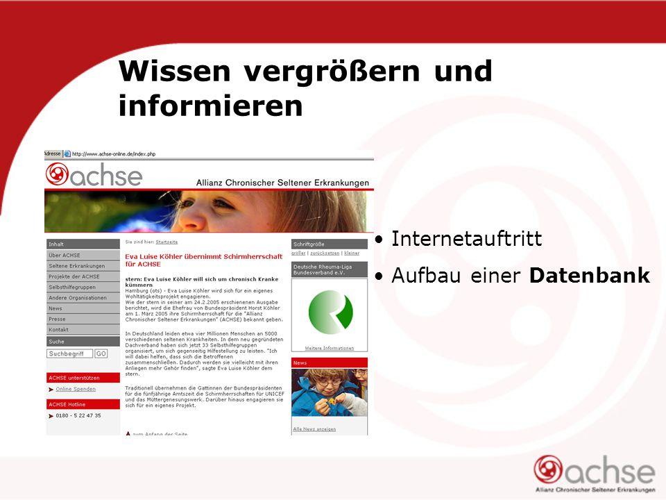 Wissen vergrößern und informieren Internetauftritt Aufbau einer Datenbank