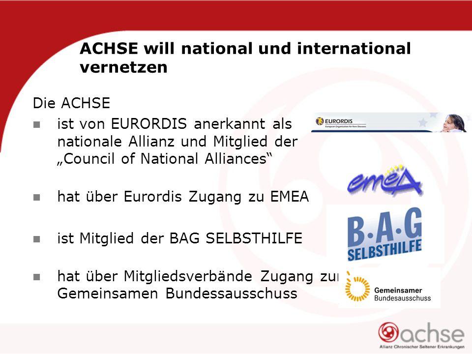 """ACHSE will national und international vernetzen Die ACHSE ist von EURORDIS anerkannt als nationale Allianz und Mitglied der """"Council of National Alliances hat über Eurordis Zugang zu EMEA ist Mitglied der BAG SELBSTHILFE hat über Mitgliedsverbände Zugang zum Gemeinsamen Bundessausschuss"""