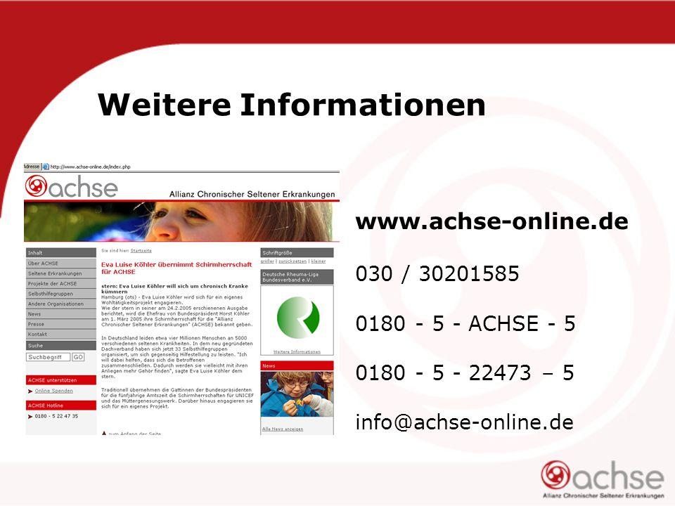 Weitere Informationen www.achse-online.de 030 / 30201585 0180 - 5 - ACHSE - 5 0180 - 5 - 22473 – 5 info@achse-online.de