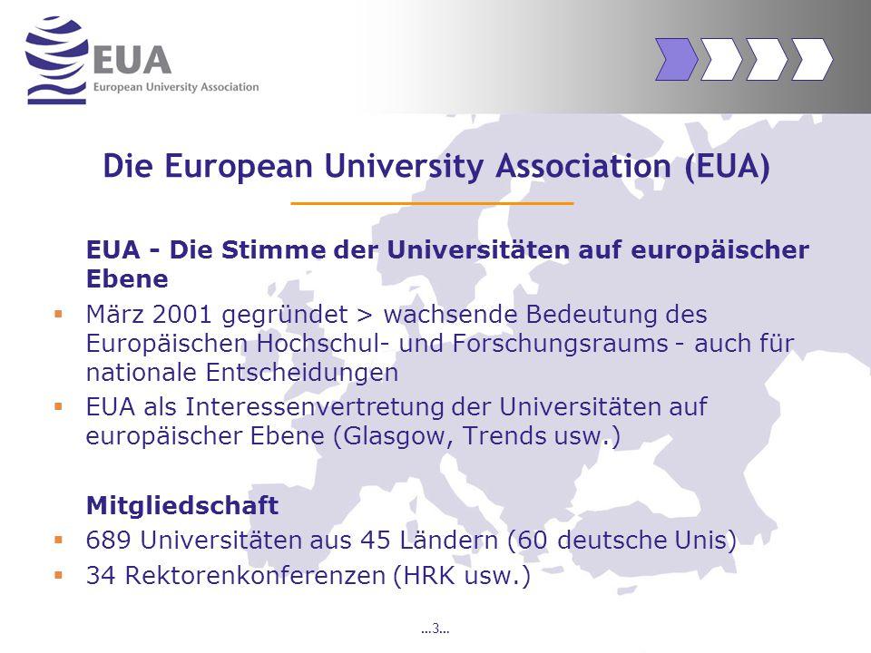 …4… Mission der EUA Zentrale strategische Positionierung der Universitäten bei der Entwicklung einer europäischen Wissensgesellschaft Dies geschieht indem sie sich gemeinsam artikulieren und gemeinsam handeln!