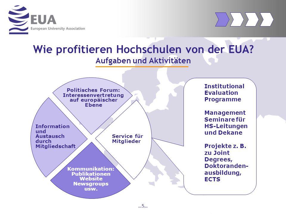 …16… Ziele der EUA Kommunikation und Information Förderung des Dialogs mit den Mitgliedern ( z.B.