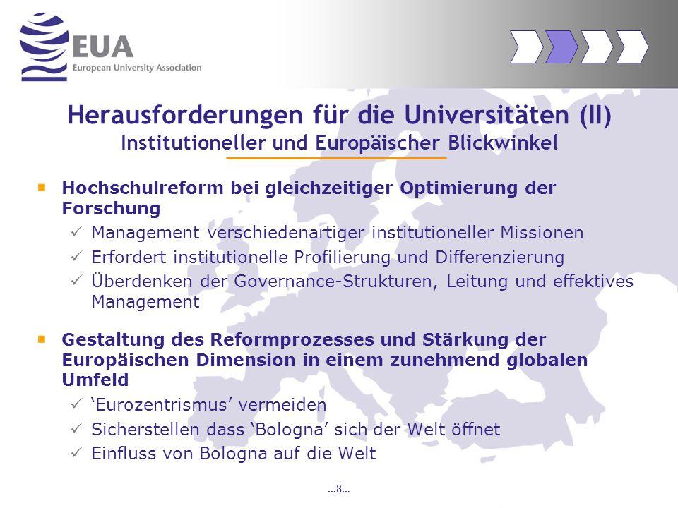 …9… EUA: Fokus Rolle der Universitäten Bologna Prozess  Einflussnahme auf Berlin und Bergen Communiqué, z.B.
