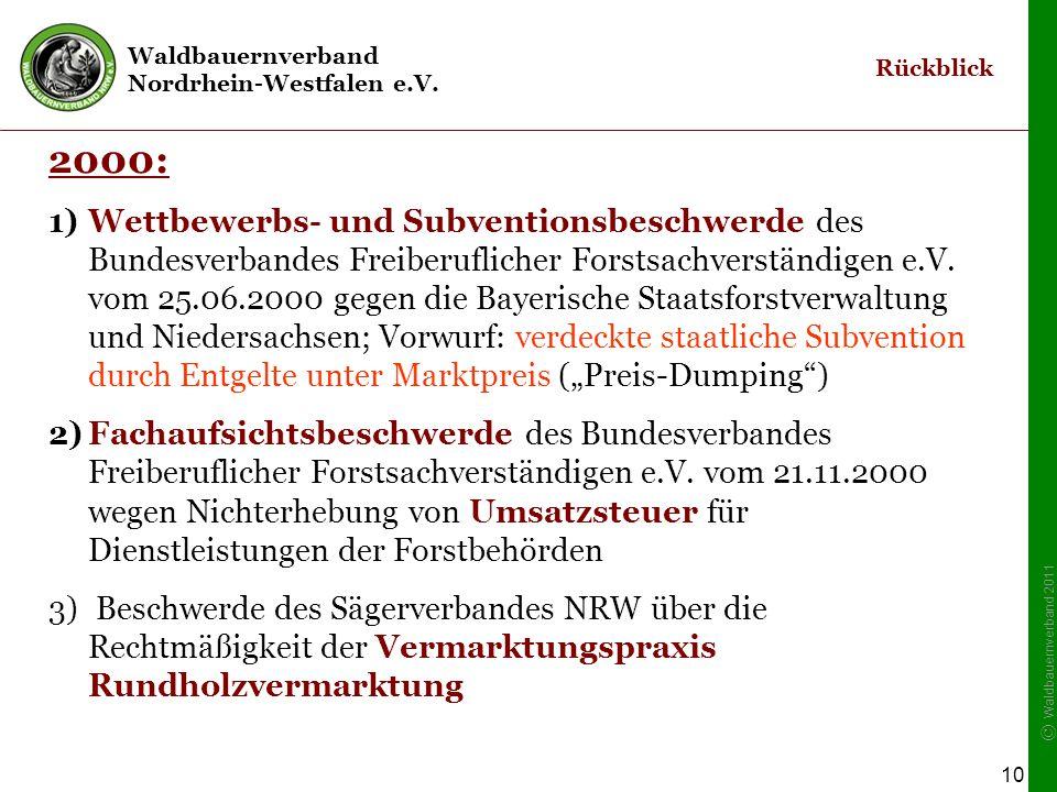 Waldbauernverband Nordrhein-Westfalen e.V. © Waldbauernverband 2011 10 2000: 1)Wettbewerbs- und Subventionsbeschwerde des Bundesverbandes Freiberuflic