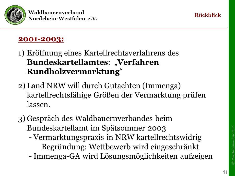 """Waldbauernverband Nordrhein-Westfalen e.V. © Waldbauernverband 2011 11 2001-2003: 1)Eröffnung eines Kartellrechtsverfahrens des Bundeskartellamtes: """"V"""