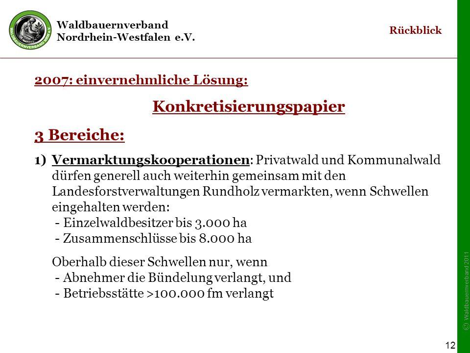 Waldbauernverband Nordrhein-Westfalen e.V. © Waldbauernverband 2011 12 2007: einvernehmliche Lösung: Konkretisierungspapier 3 Bereiche: 1)Vermarktungs
