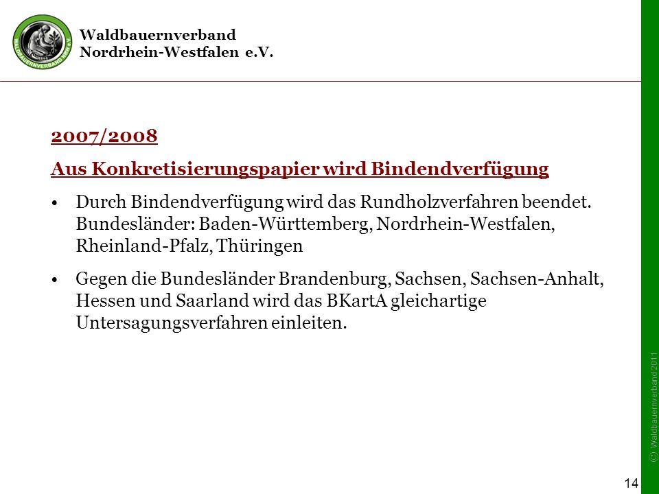 Waldbauernverband Nordrhein-Westfalen e.V. © Waldbauernverband 2011 14 2007/2008 Aus Konkretisierungspapier wird Bindendverfügung Durch Bindendverfügu