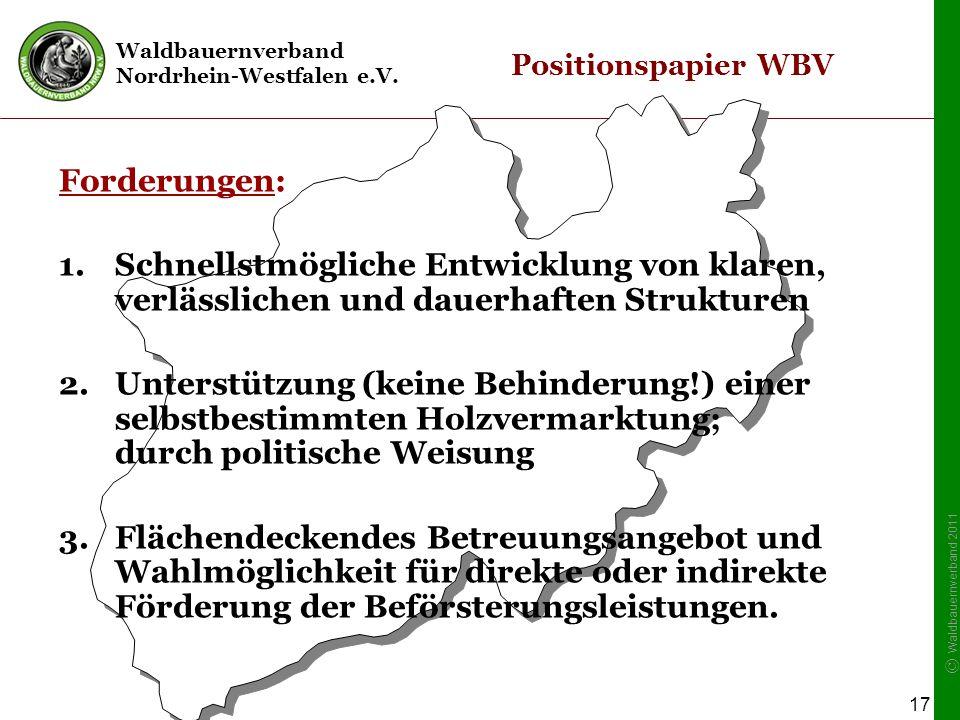 Waldbauernverband Nordrhein-Westfalen e.V. © Waldbauernverband 2011 17 Positionspapier WBV Forderungen: 1.Schnellstmögliche Entwicklung von klaren, ve