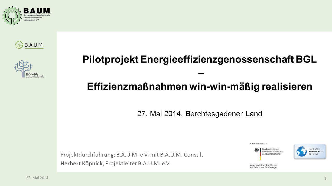 1 27. Mai 2014 Pilotprojekt Energieeffizienzgenossenschaft BGL – Effizienzmaßnahmen win-win-mäßig realisieren 27. Mai 2014, Berchtesgadener Land Proje