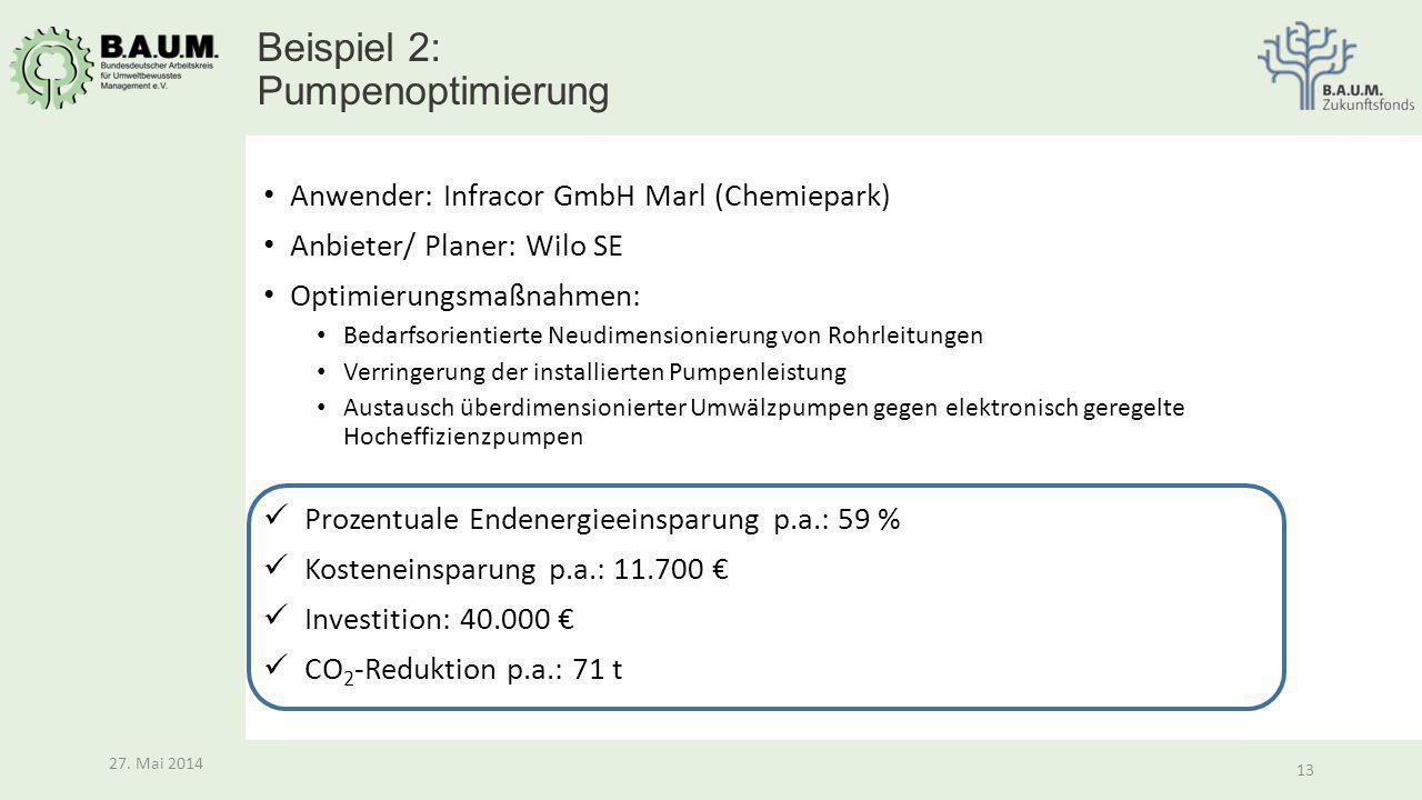 13 27. Mai 2014 13 27. Mai 2014 Anwender: Infracor GmbH Marl (Chemiepark) Anbieter/ Planer: Wilo SE Optimierungsmaßnahmen: Bedarfsorientierte Neudimen