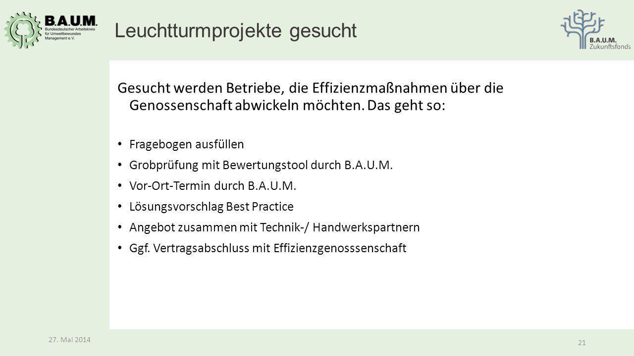 21 27. Mai 2014 21 27. Mai 2014 Gesucht werden Betriebe, die Effizienzmaßnahmen über die Genossenschaft abwickeln möchten. Das geht so: Fragebogen aus