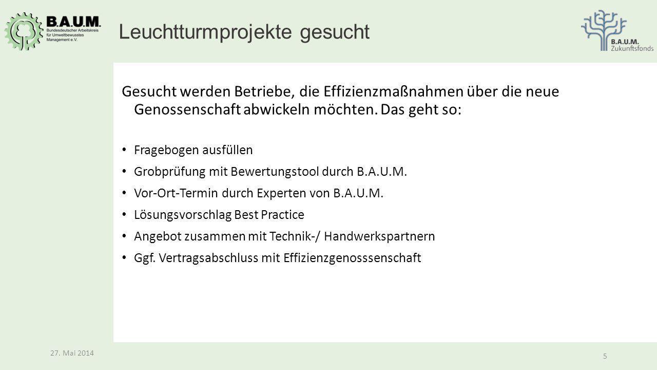 5 27. Mai 2014 5 Gesucht werden Betriebe, die Effizienzmaßnahmen über die neue Genossenschaft abwickeln möchten. Das geht so: Fragebogen ausfüllen Gro