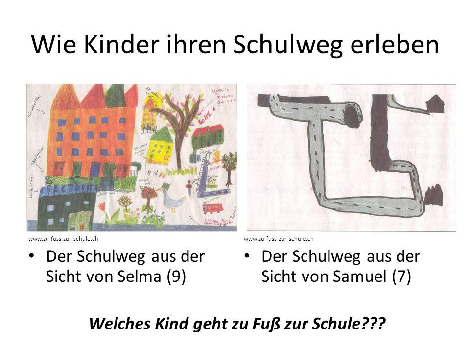 Wie Kinder ihren Schulweg erleben www.zu-fuss-zur-schule.ch Der Schulweg aus der Sicht von Selma (9) www.zu-fuss-zur-schule.ch Der Schulweg aus der Si