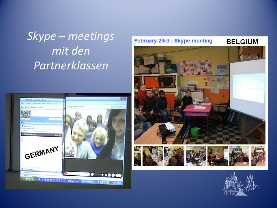 Skype – meetings mit den Partnerklassen GERMANY BELGIUM
