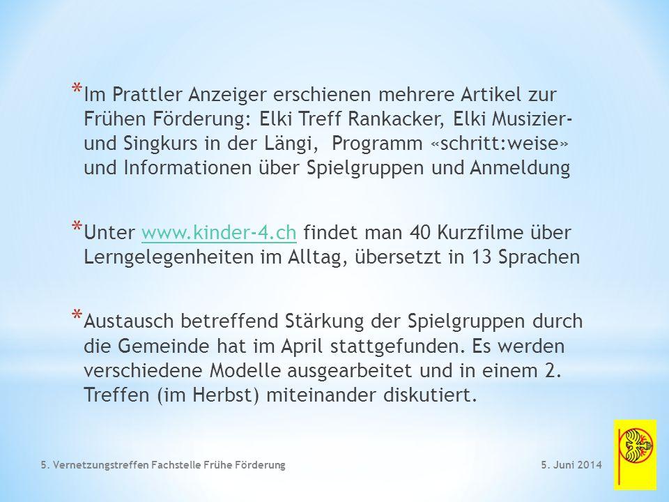 * Sprachkompetenz mit Frühförderung 5. Juni 2014 5. Vernetzungstreffen Fachstelle Frühe Förderung