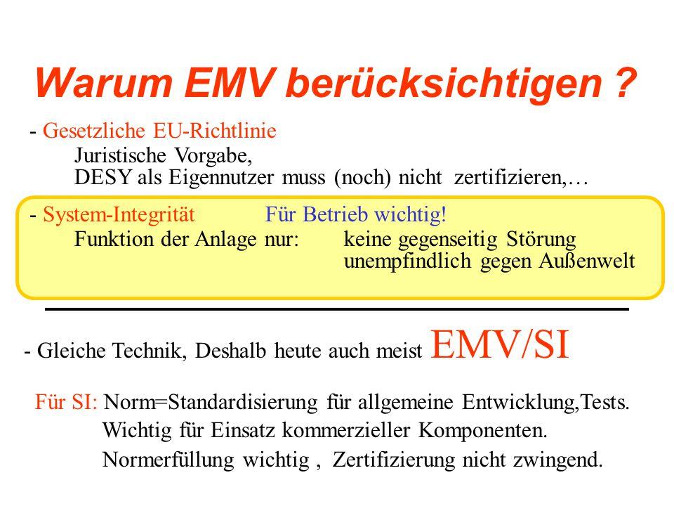 Kosten und Erfolg Auch bei DESY Probleme : - Typisch: Spannung GND-GND Wiederholfrequenzen 3kHz, 20kHz, 100kHz - Netz: 50Hz, 100Hz, 300Hz DESY: Kleine Signale  Hohen Strömen Siemens:
