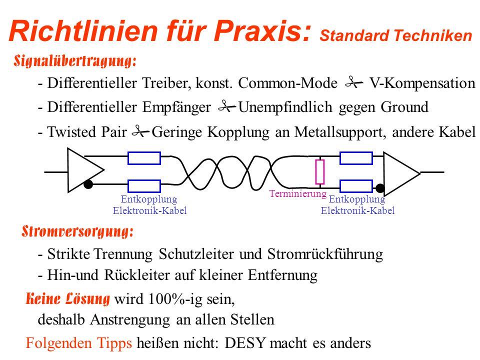 Richtlinien für Praxis: Infrastruktur - Eine Einteilung in Kabelkategorien und getrennte Verlegung dieser Kabelgruppen (auch nach EMV-Störer/Sensibler) -Wegen mangelhafter Kompensation ist Stromschienen besondere Beachtung zu schenken -Kabelverlegung stets eng an Masse wegen deren Reduktionswirkung -Es sind metallene Kabelträger zu verwenden -Stoßstellen zwischen Kabelträger sind galvanisch gut leitend zu verbinden -Parallel laufende Kabelträger sind in einem Abstand von 20-30m galvanisch gut leitend zu verbinden - Die Kabelträger sind in einem Abstand von 20-30m möglichst impedanzarm mit dem Potentialausgleichssystem zu verbinden - Kabelträger und Schränke bzw.