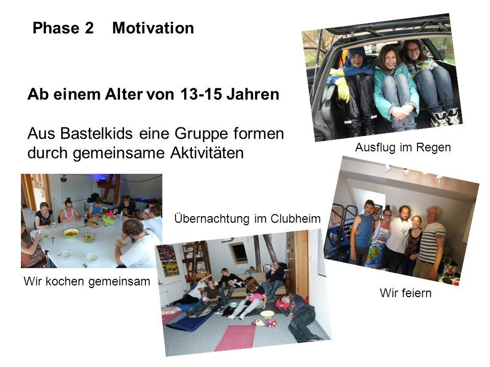Phase 2 Motivation Ab einem Alter von 13-15 Jahren Aus Bastelkids eine Gruppe formen durch gemeinsame Aktivitäten Ausflug im Regen Wir kochen gemeinsa