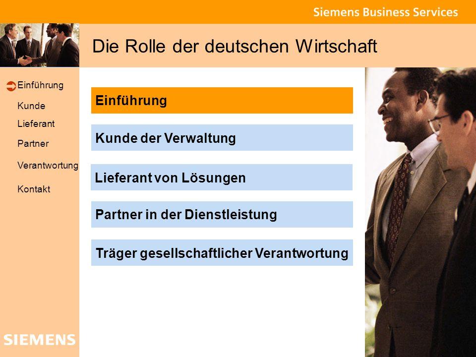 Global network of innovation Kunde Lieferant Partner Verantwortung Einführung Kontakt Die Rolle der deutschen Wirtschaft Partner in der Dienstleistung Kunde der Verwaltung Lieferant von Lösungen Träger gesellschaftlicher Verantwortung Einführung 