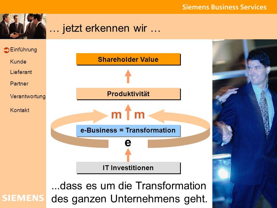 Global network of innovation Kunde Lieferant Partner Verantwortung Einführung Kontakt Shareholder Value IT Investitionen Produktivität e-Business = Transformation e mm … jetzt erkennen wir …...dass es um die Transformation des ganzen Unternehmens geht.