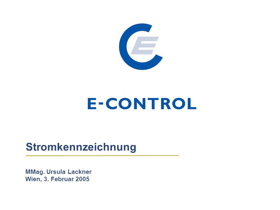 Stromkennzeichnung MMag. Ursula Lackner Wien, 3. Februar 2005