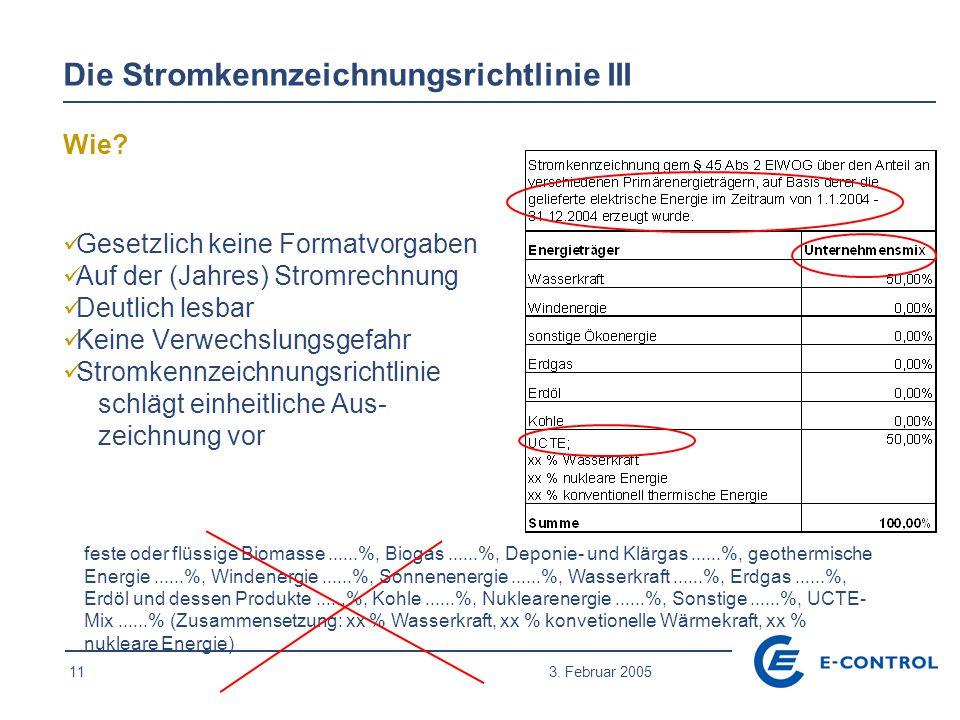 11 3. Februar 2005 Die Stromkennzeichnungsrichtlinie III feste oder flüssige Biomasse......%, Biogas......%, Deponie- und Klärgas......%, geothermisch