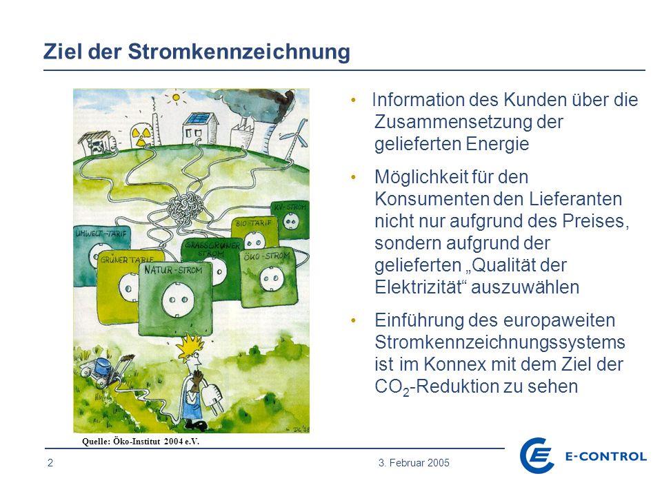 2 3. Februar 2005 Ziel der Stromkennzeichnung Information des Kunden über die Zusammensetzung der gelieferten Energie Möglichkeit für den Konsumenten