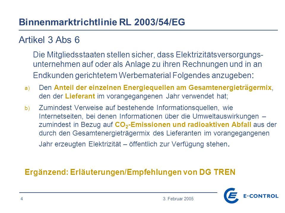 4 3. Februar 2005 Binnenmarktrichtlinie RL 2003/54/EG Artikel 3 Abs 6 Die Mitgliedsstaaten stellen sicher, dass Elektrizitätsversorgungs- unternehmen