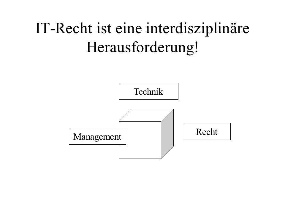 IT-Recht ist eine interdisziplinäre Herausforderung! Management Technik Recht