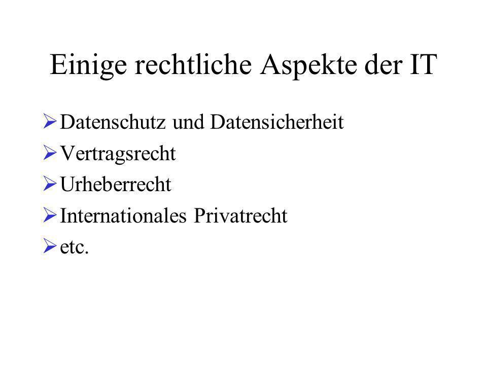 Einige rechtliche Aspekte der IT  Datenschutz und Datensicherheit  Vertragsrecht  Urheberrecht  Internationales Privatrecht  etc.