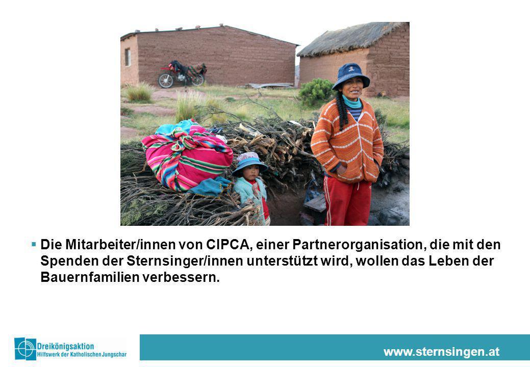 www.sternsingen.at  Die Mitarbeiter/innen von CIPCA, einer Partnerorganisation, die mit den Spenden der Sternsinger/innen unterstützt wird, wollen da