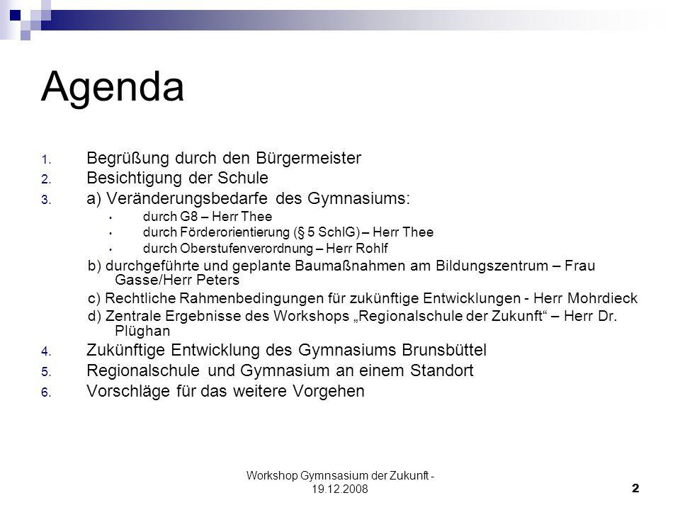Workshop Gymnsasium der Zukunft - 19.12.20082 Agenda 1.