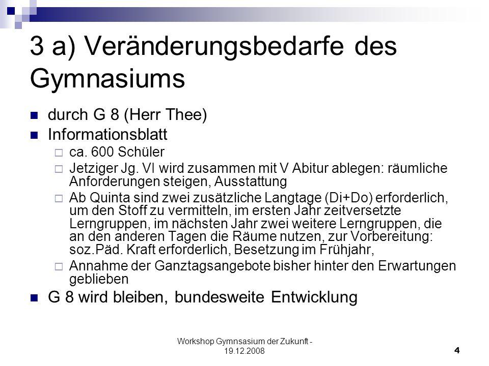 Workshop Gymnsasium der Zukunft - 19.12.20084 3 a) Veränderungsbedarfe des Gymnasiums durch G 8 (Herr Thee) Informationsblatt  ca.