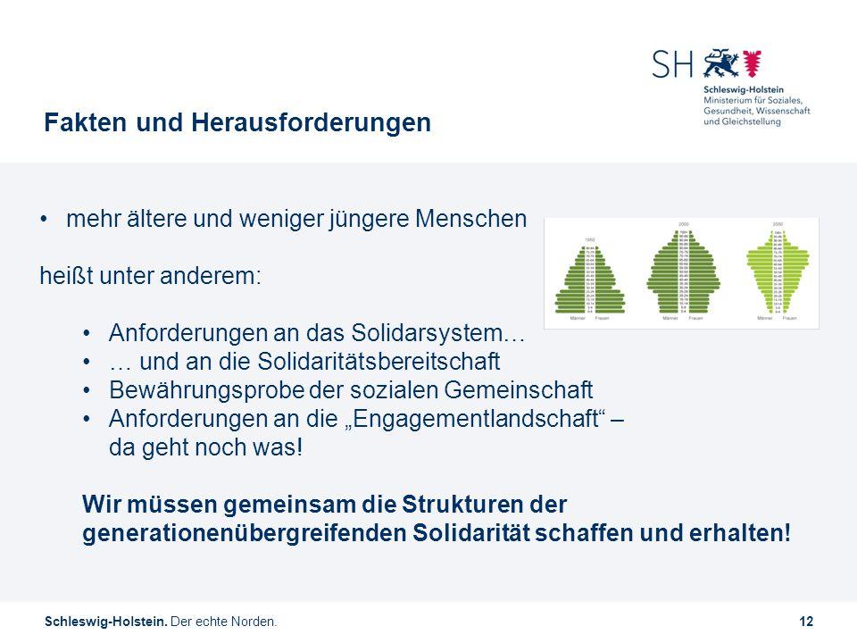 Schleswig-Holstein. Der echte Norden.12 Fakten und Herausforderungen mehr ältere und weniger jüngere Menschen heißt unter anderem: Anforderungen an da