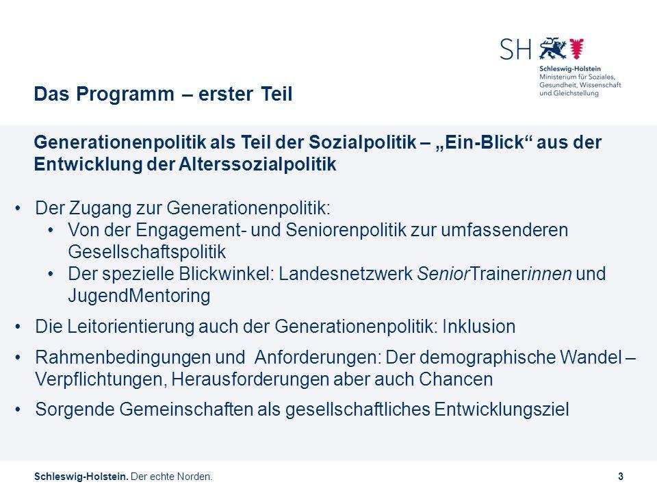 """Schleswig-Holstein. Der echte Norden.3 Das Programm – erster Teil Generationenpolitik als Teil der Sozialpolitik – """"Ein-Blick"""" aus der Entwicklung der"""
