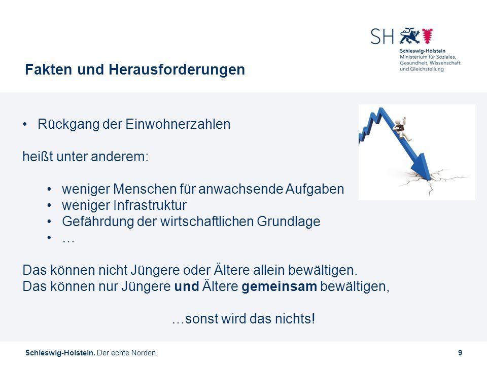 Schleswig-Holstein. Der echte Norden.9 Fakten und Herausforderungen Rückgang der Einwohnerzahlen heißt unter anderem: weniger Menschen für anwachsende