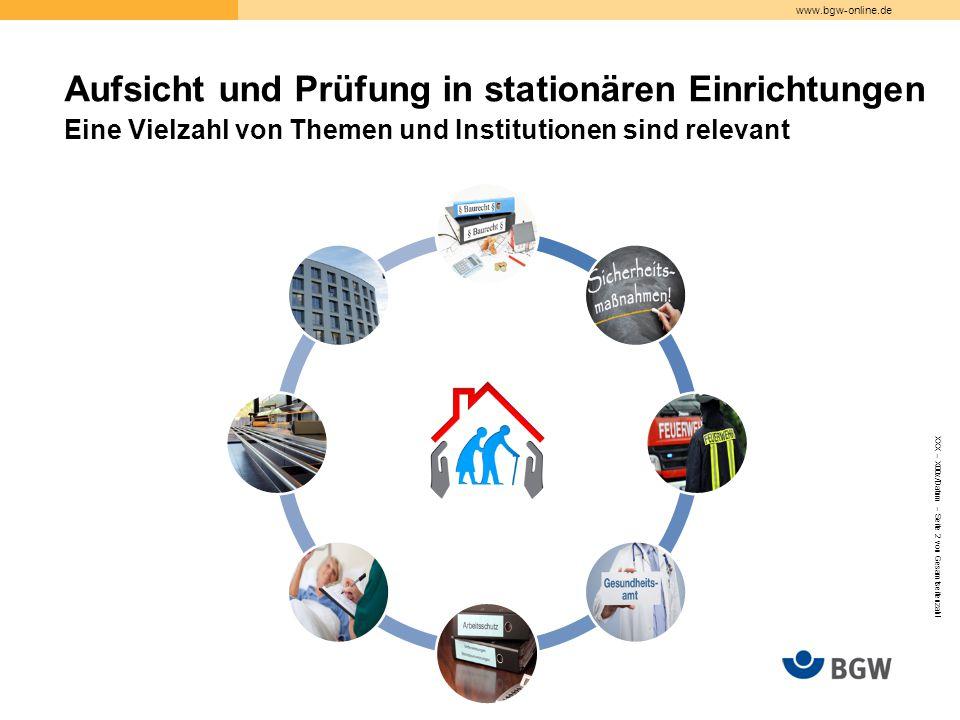 www.bgw-online.de XXX – X00x/Datum – Seite 2 von Gesamtseitenzahl Aufsicht und Prüfung in stationären Einrichtungen Eine Vielzahl von Themen und Institutionen sind relevant