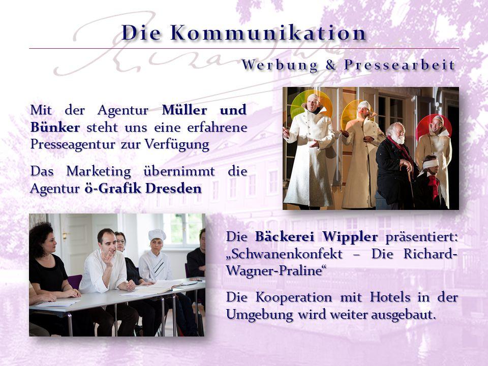 Das Marketing übernimmt die Agentur ö-Grafik Dresden Mit der Agentur Müller und Bünker steht uns eine erfahrene Presseagentur zur Verfügung Die Kooperation mit Hotels in der Umgebung wird weiter ausgebaut.