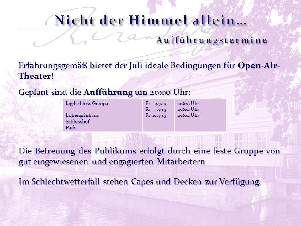Erfahrungsgemäß bietet der Juli ideale Bedingungen für Open-Air- Theater! Jagdschloss Graupa LohengrinhausSchlosshofPark Fr 3.7.15 Sa 4.7.15 Fr 10.7.1