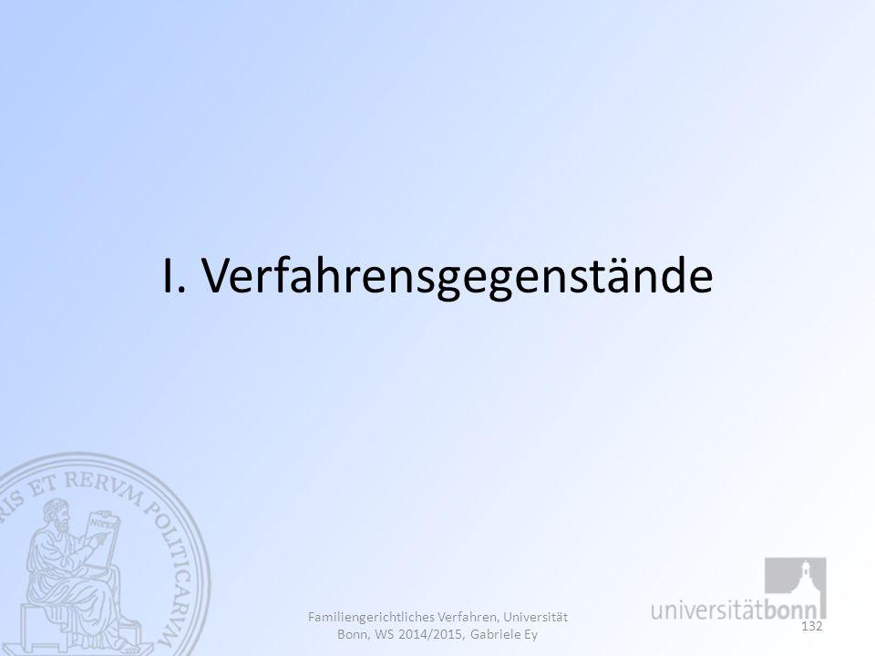 I. Verfahrensgegenstände Familiengerichtliches Verfahren, Universität Bonn, WS 2014/2015, Gabriele Ey 132