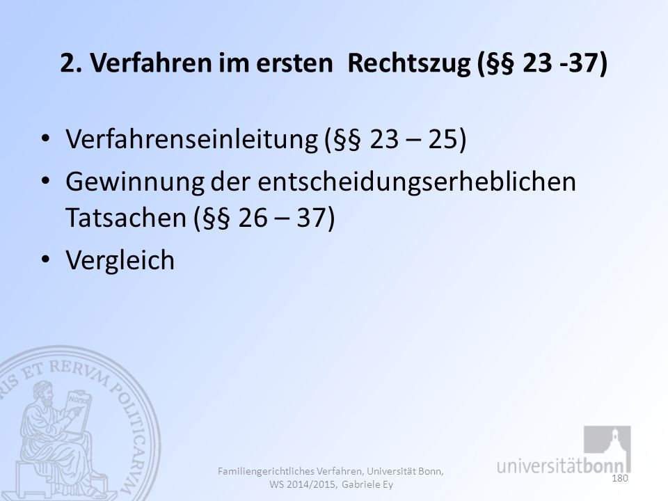 2. Verfahren im ersten Rechtszug (§§ 23 -37) Verfahrenseinleitung (§§ 23 – 25) Gewinnung der entscheidungserheblichen Tatsachen (§§ 26 – 37) Vergleich