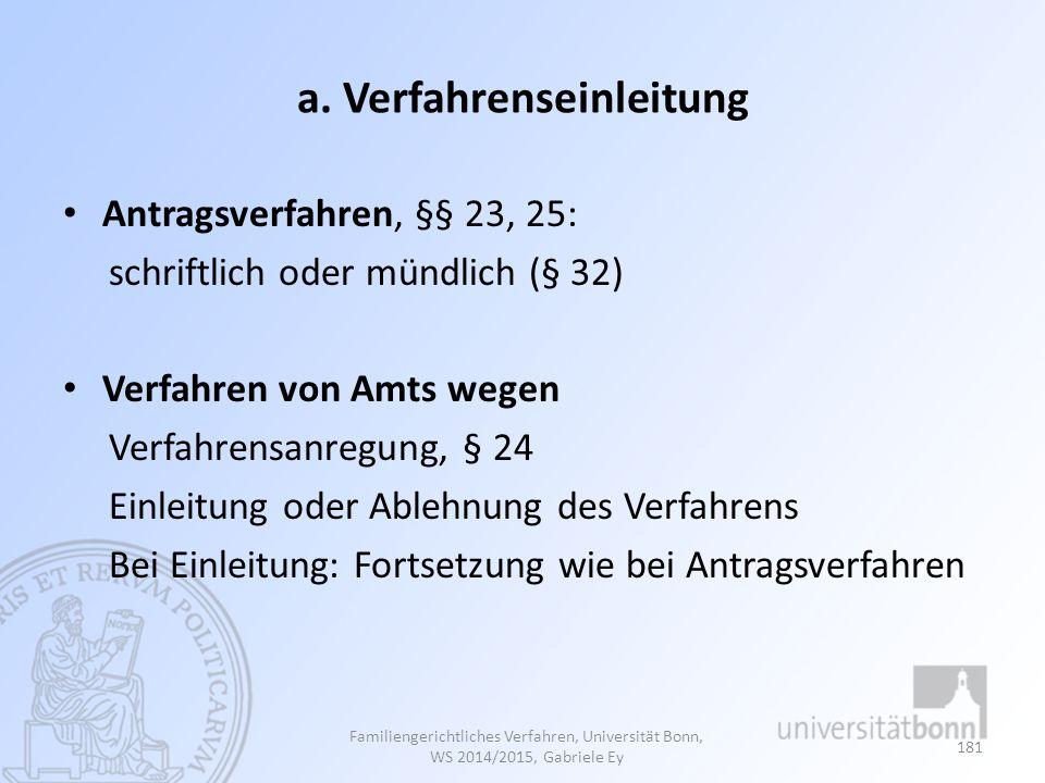 a. Verfahrenseinleitung Antragsverfahren, §§ 23, 25: schriftlich oder mündlich (§ 32) Verfahren von Amts wegen Verfahrensanregung, § 24 Einleitung ode