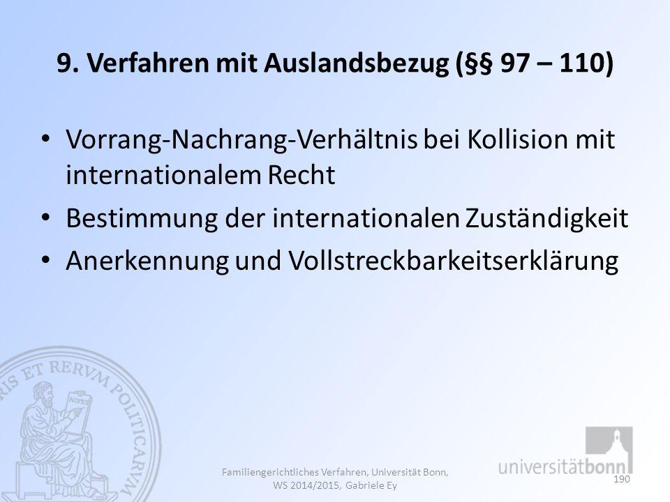 9. Verfahren mit Auslandsbezug (§§ 97 – 110) Vorrang-Nachrang-Verhältnis bei Kollision mit internationalem Recht Bestimmung der internationalen Zustän