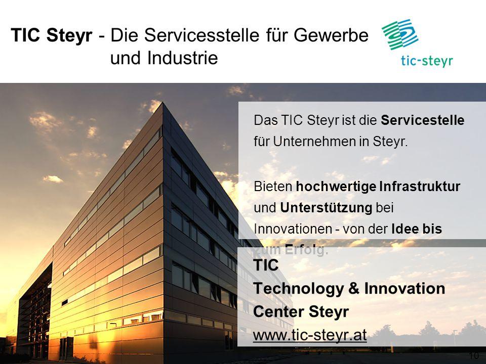 Das TIC Steyr ist die Servicestelle für Unternehmen in Steyr. Bieten hochwertige Infrastruktur und Unterstützung bei Innovationen - von der Idee bis z