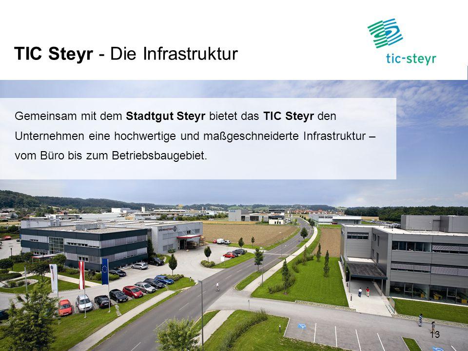 TIC Steyr - Die Infrastruktur 13 Gemeinsam mit dem Stadtgut Steyr bietet das TIC Steyr den Unternehmen eine hochwertige und maßgeschneiderte Infrastru