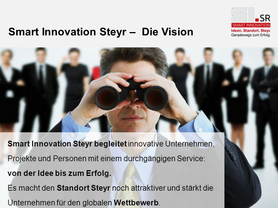 Smart Innovation Steyr – Die Vision Smart Innovation Steyr begleitet innovative Unternehmen, Projekte und Personen mit einem durchgängigen Service: vo