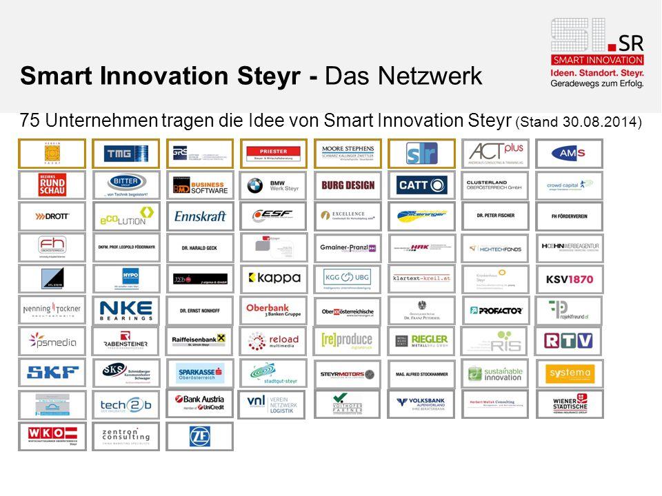 Smart Innovation Steyr - Das Netzwerk 75 Unternehmen tragen die Idee von Smart Innovation Steyr (Stand 30.08.2014)