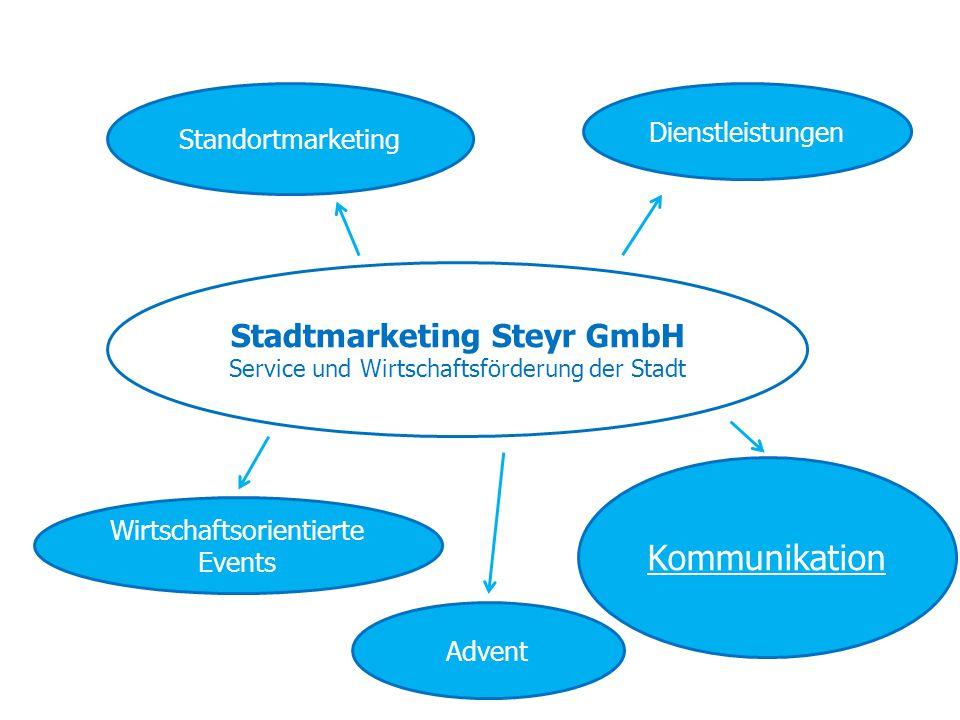 Stadtmarketing Steyr GmbH Service und Wirtschaftsförderung der Stadt Standortmarketing Kommunikation Wirtschaftsorientierte Events Dienstleistungen Ad