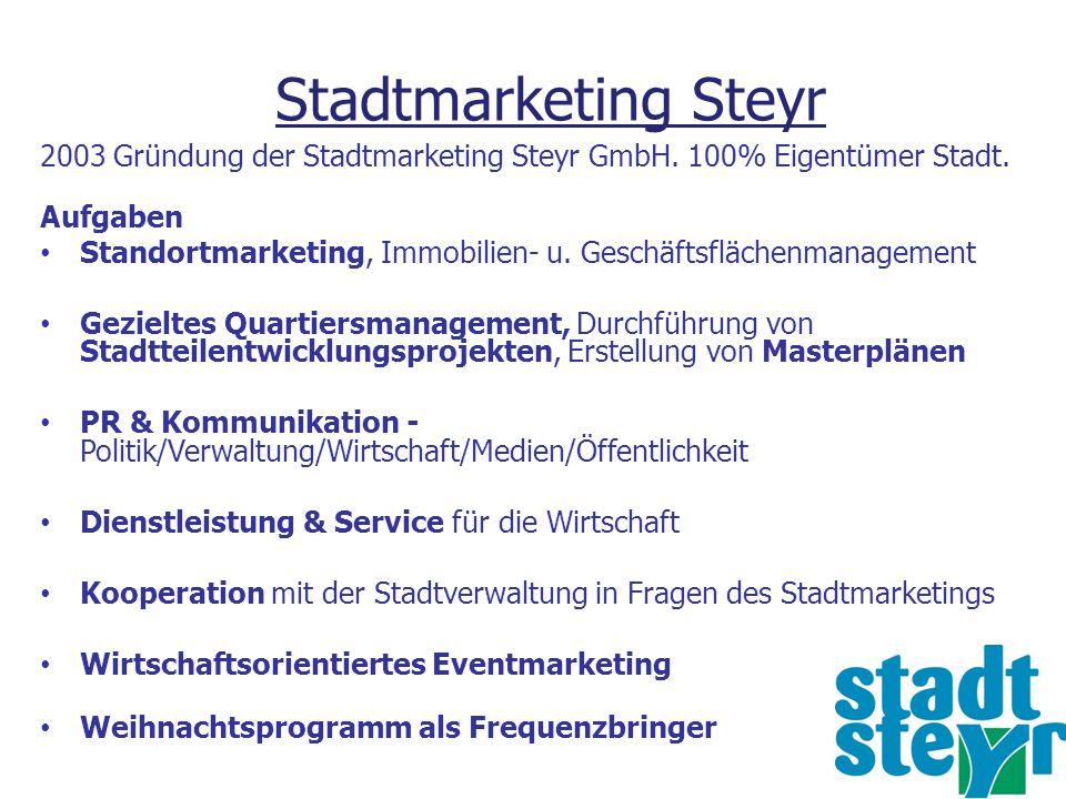 Stadtmarketing Steyr 2003 Gründung der Stadtmarketing Steyr GmbH. 100% Eigentümer Stadt. Aufgaben Standortmarketing, Immobilien- u. Geschäftsflächenma