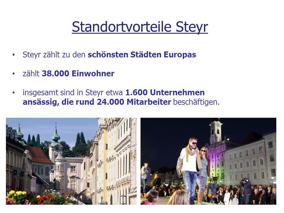 Steyr zählt zu den schönsten Städten Europas zählt 38.000 Einwohner insgesamt sind in Steyr etwa 1.600 Unternehmen ansässig, die rund 24.000 Mitarbeit
